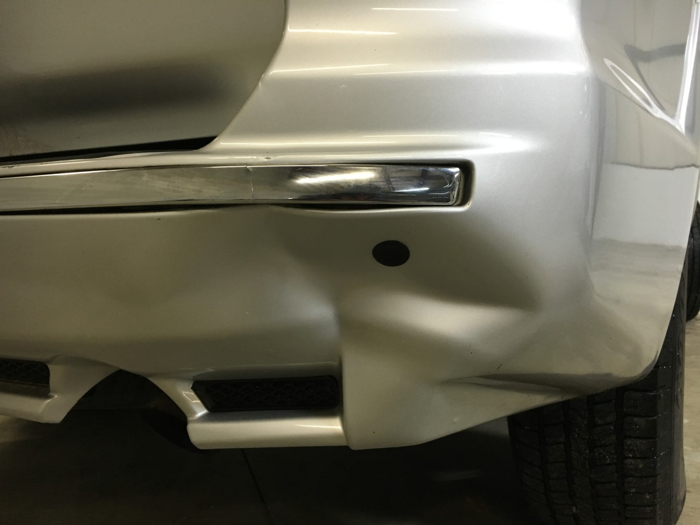Paintless Dent Repair Grand Rapids, Michigan: 4Runner bumper - before
