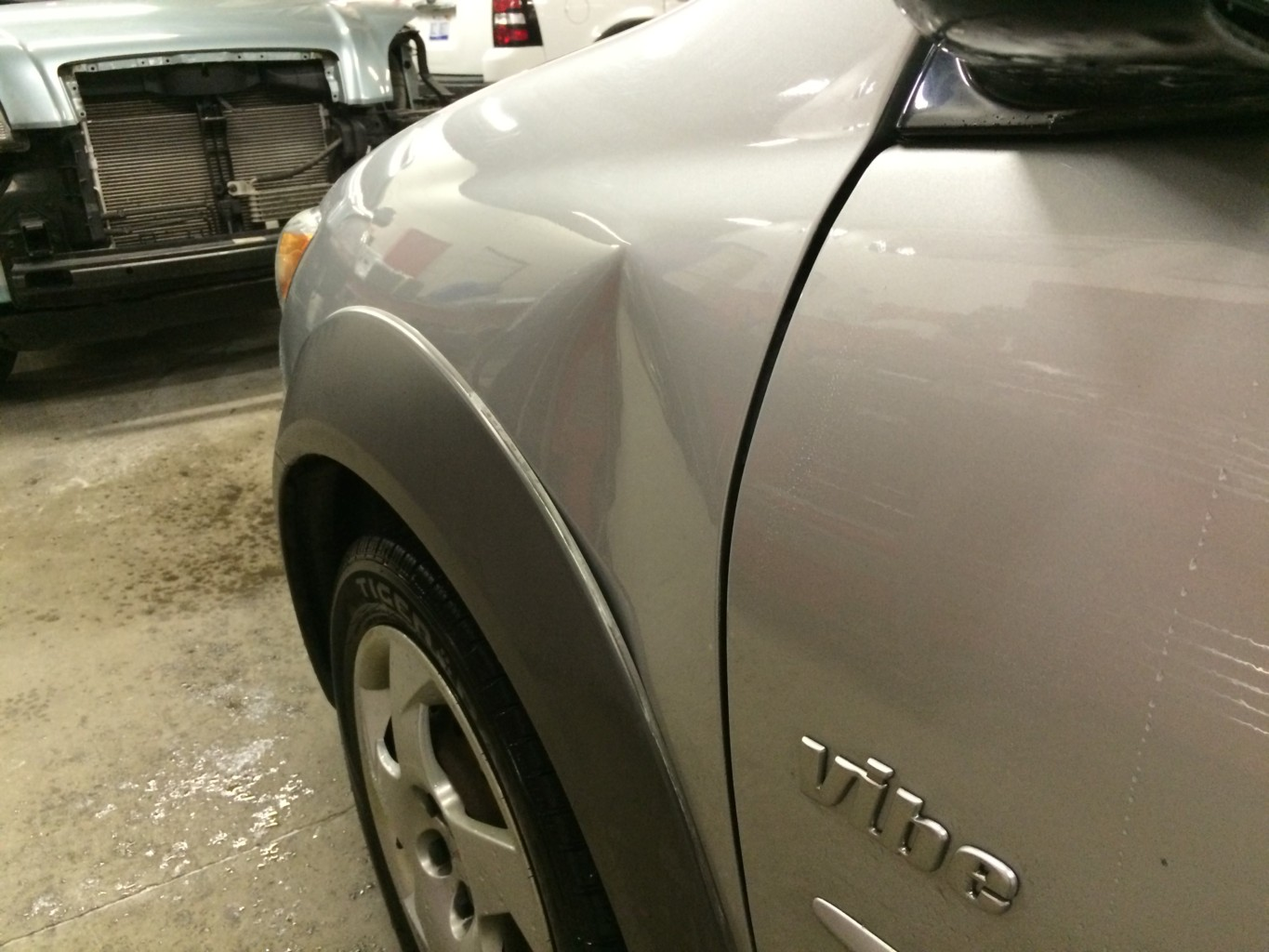 Paintless Dent Repair Grand Rapids, Michigan: Vibe fender - before